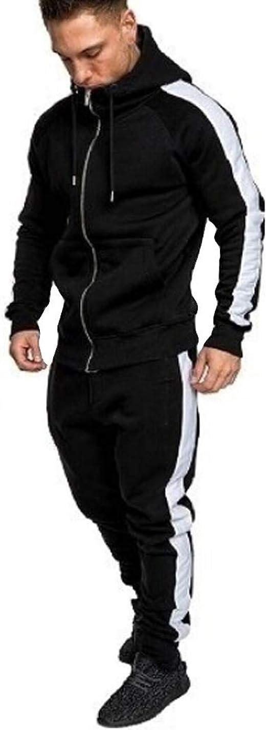 Hooded Top with Zip Pockets Bottoms with Zip Pockets D Rock Mens Luxury Tracksuit Set Hoodie Top Bottoms Joggers Zip Jogging Suit