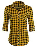 JJ Perfection Womens Long Sleeve Collared Button Down Plaid Flannel Shirt MUSTARDNAVY L
