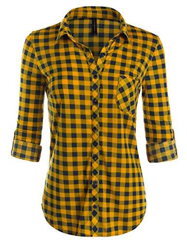 49a3ec386 JJ Perfection Womens Long Sleeve Collared Button Down Plaid Flannel Shirt