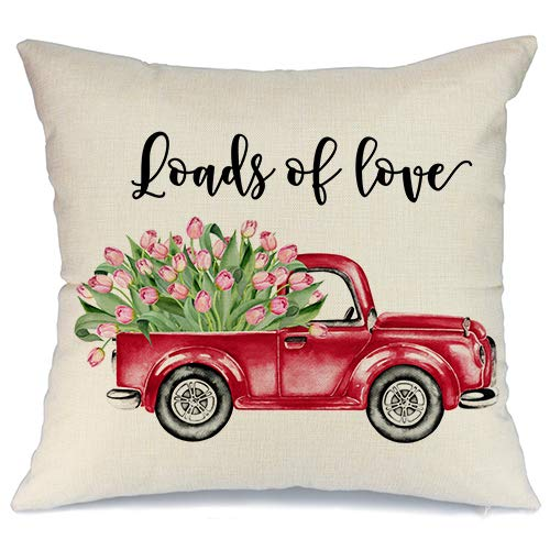 (AENEY Valentines Pillow Cover 18x18 for Couch Red Truck Rose Hot Love Flower Happy Valentine's Day Decorations Throw Pillow Home Decor Pillowcase Faux Linen Cushion Case Sofa)