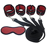feifanmall Sleep Eye Mask Blindfold with Under the Bed System Strap Kit with Satin Eye Mask, Fur Lined Adjustable Arm Leg Restraint Cuffs, hand wrist ankle cuffs, handcuffs
