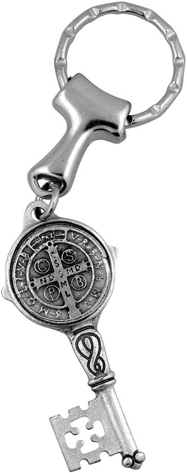 Angelitos de Mexico Saint Benedict Keychain with Attached St Benedict Medal