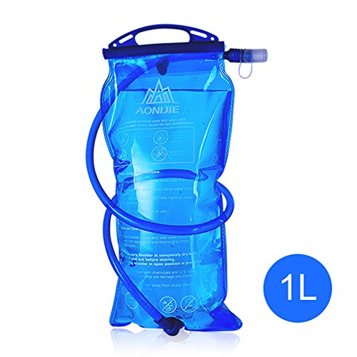 Hydration Bladder, 1L 1.5L 2L 3L Leakproof Water Reservoir, Water Bladder with a Soft Bite Mouth Piece, Hydration Pack Bladder Large Opening for Hydration Pack (Style A - 1L)