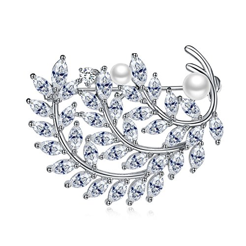 Cubic Zirconia Brooch Wedding, UMODE Olive Designed Marquise Cut Cz Brooch Pin for Women