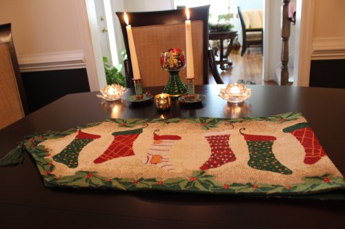 Tapestry Stocking Christmas (Tache 13 x 90 Inch Decorative Green Christmas Tapestry Hang My Stockings By the Fireplace Woven Table Runners)