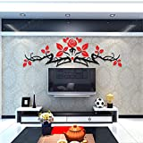 Alrens(TM)Luxury Rose Flowers Acrylic Crystal 3D Stereoscopic Wall Stickers Living Room Dinging Room Décor Art Removable Home Decoration Creative Mural Decal