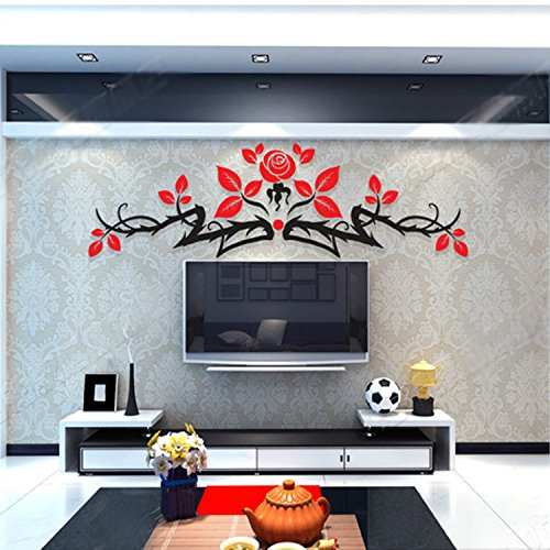 Alrens(TM)Luxury Rose Flowers Acrylic Crystal 3D Stereoscopic Wall Stickers Living Room Dinging Room Décor Art Removable Home Decoration Creative Mural Decal by Alrens