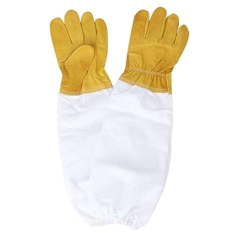 Beekeeping Gloves Sheepskin Sleeves Suit Bee Goat Skin Long Vented Keeper Net