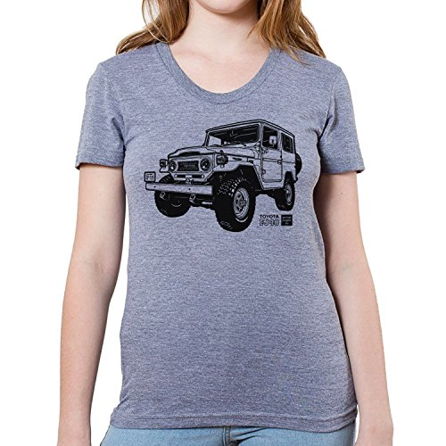 GarageProject101 Women's Toyota FJ40 Land Cruiser T-Shirt S Athletic Grey (Toyota Land Cruiser Prado For Sale In Usa)