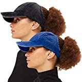 ZOORON Backless Ponytail Hat for Women [2 Pack], Curl Cap Natural Curly Hair Hat Baseball Cap