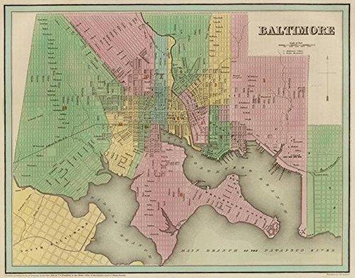 Imagekind Wall Art Print entitled Vintage Map Of Baltimore Maryland (1838) by Alleycatshirts @Zazzle | 10 x ()