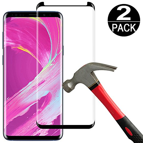 [2 Pack] Samsung Galaxy S8 Screen Protector Tempered Glass Film [Case Friendly][Anti-Bubble][3D Curved][3D Full Coverage] Tempered Glass Screen Protector for Samsung Galaxy S8