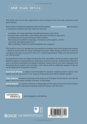 Essays About Goals Good Essay Writing Sage Study Skills Series Amazoncouk Peter Redman  Wendy Maples  Books Ideas For Compare Contrast Essay also Civil Rights Essays Good Essay Writing Sage Study Skills Series Amazoncouk Peter  Argumentative Essay Introduction Examples