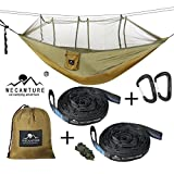 Wecamture Double Hammock with Mosquito Net 600LBS Portable Outdoor Hammocks 10ft Hammock Tree Straps & 12KN Carabiners for Backpacking Camping Travel Beach Yard 95″(L) x 66″(W) (Green) For Sale