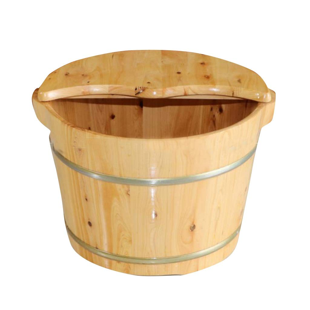 Foot Bath Tub,Cedar Environmenta Protection Foot Bath Barrel, Home Insulation Steamed Foot Artifact (Size : No Massage Wheel)