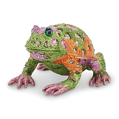 Jere Luxury Giftware Bejeweled Peace Psychedelic Frog, Pewter with Enamel Collectible Trinket Box with Matching Pendant Necklace