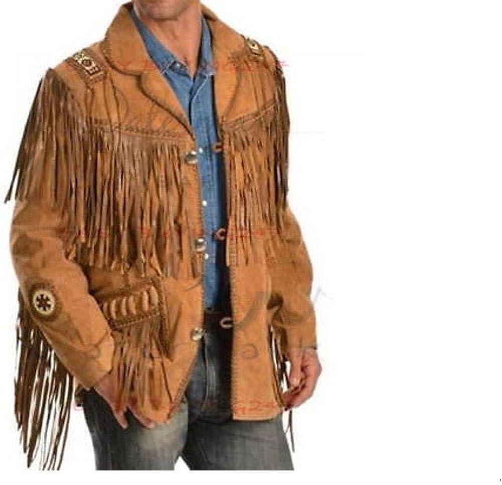 Uomini Marrone in Pelle Scamosciata Cowboy Western Giacca in pelle con frange