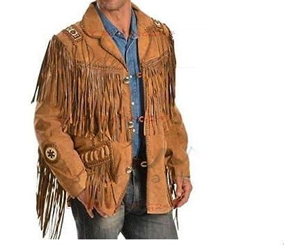 72772b1b021 Mens Western Cowboy Genuine Suede Leather Jackets Fringe 23 at ...