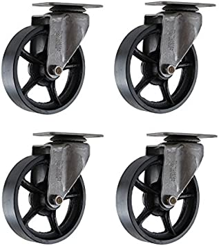 INDUSTRIAL CASTER SET Vtg Farmhouse Furniture Coffee Table Cast Iron Metal Wheel