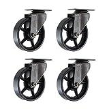 (Set of 4) 4'' CC Vintage Swivel Caster - Plate Mount - Black Cast Iron Wheels