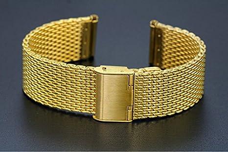 correas de relojes de lujo de malla milanesa bucle de 20 mm de oro de las correas con el desplazamiento de tamaño ajustable del corchete: Amazon.es: Relojes