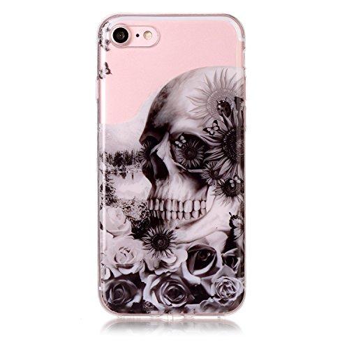 Coque Etui iPhone 8 , Leiai Crâne Silicone Gel Case Avant et Arrière Intégral Full Protection Cover Transparent TPU Housse Anti-rayures pour Apple iPhone 8