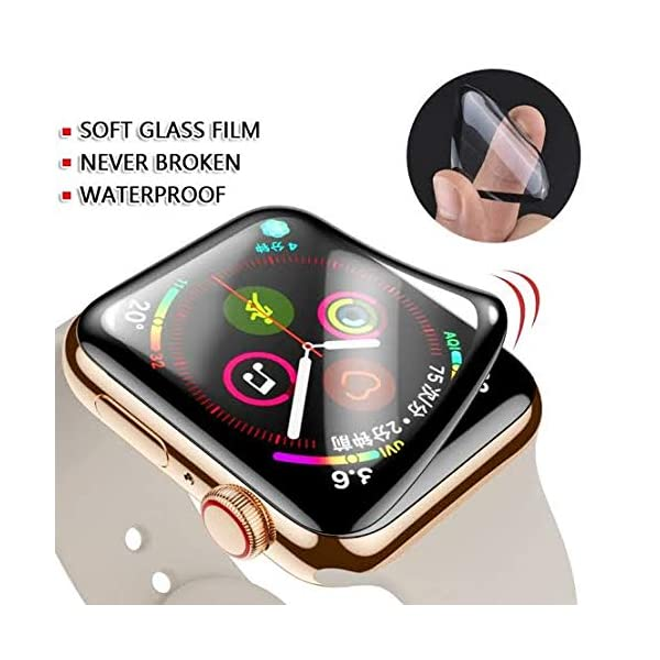 ZZ ZONEX 3D Full Edge to Edge Coverage, HD Clear, Bubble-Free, Anti-Scratch 44mm Soft Tempered Glass for iOS Watch, Full Glue Screen Protector for iWatch Series 4/5 (Pack of 1)
