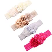 Ever Fairy Chiffon Lace Flower Baby Girls Turban Headband Head Wrap With Pearl (Pack of 4)