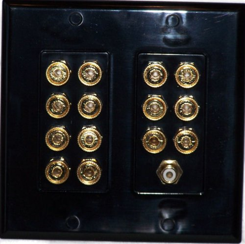 Black 14 Post Speaker Wall plate for 7 Speakers Dolby 7.1 - Media Room Series