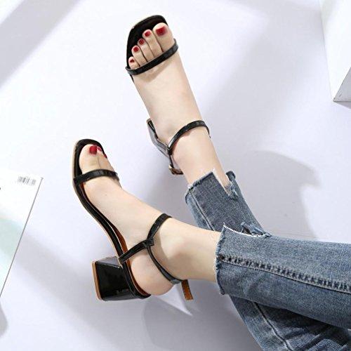 Escarpin Chic Femme De Carre Soiree Ouverte Noir Boucle Sandales Chaussure Angelof Sandales Compensees Mariage Talon Sandales Femmes Laniere Ftxq6wnf1