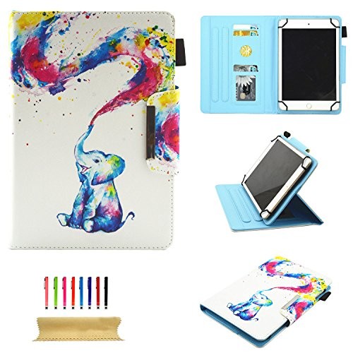 Uliking Universal Case for All 9.5-10.5 inch Touchscreen Android Tablet, Stand Folio PU Leather Wallet Cover with Card Slots Pencil Holder for Kindle Samsung Apple ipad Tablet,ECT, Rainbow Elephant