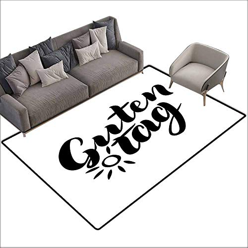 (Office Chair Floor Mat Foot Pad German,Guten Tag Quote with Hand Lettering Fashionable Calligraphy Style Illustration,Black and White 60
