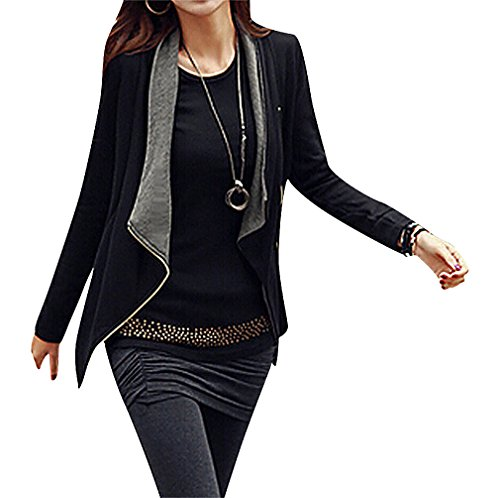 Maze, Women's 2 Color Side Zip Customizable Drape Front Contrast Collar Jacket, GrayBlack XL ,Manufacturer(XXL) Seersucker Zip Jacket