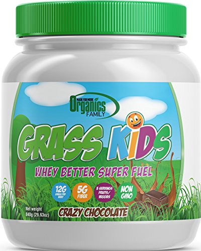 Chocolate Kids Nutritional Protein Shake  Complete Meal Replacement  3 Servings Fruits/Veggies  No Sugar  Non-GMO and Organic Ingredients  Grass Kids  Crazy Chocolate  15 Meals