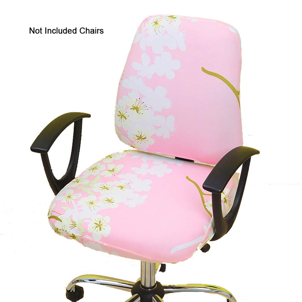 Remarkable Gikidea Removable Office Chair Cover With Floral Pattern Elasticized Dorm Computer Rotating Chair Slipcover Washable Seat And Back Cover Yellow Creativecarmelina Interior Chair Design Creativecarmelinacom