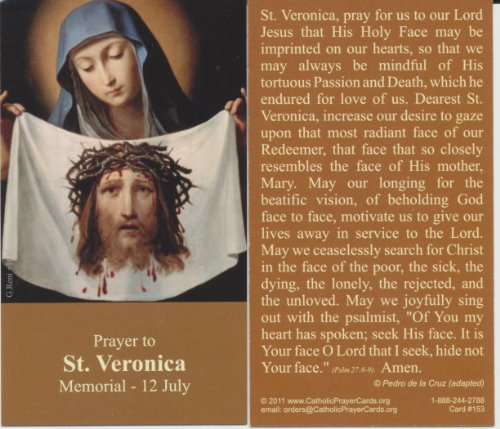 (Saint Veronica Holy Prayer Card Patron of Christians Wallet Size Free Bookmark with Order)