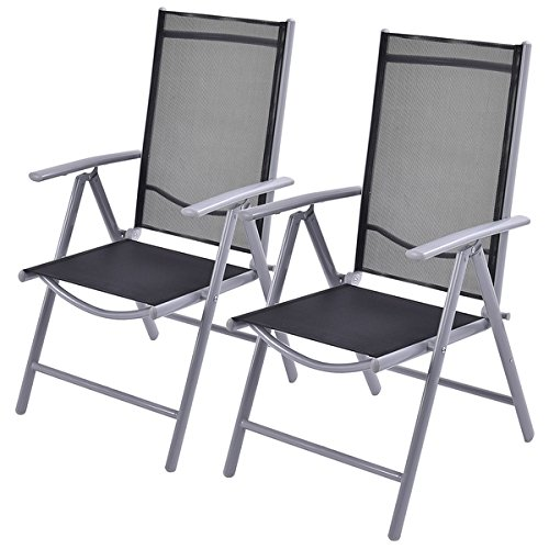 Costway Set of 2 Patio Folding Chairs Adjustable Reclining Indoor Outdoor Garden Pool by Costway