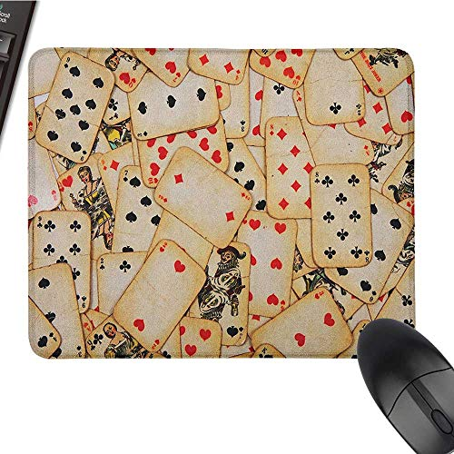 Computer Mouse pad Casino,Old Playing Cards Themed Vintage Classic Style Entertaining Wealth Fortune, Beige Red Black Office Mouse Pad 9.8 x11.8 INCH ()