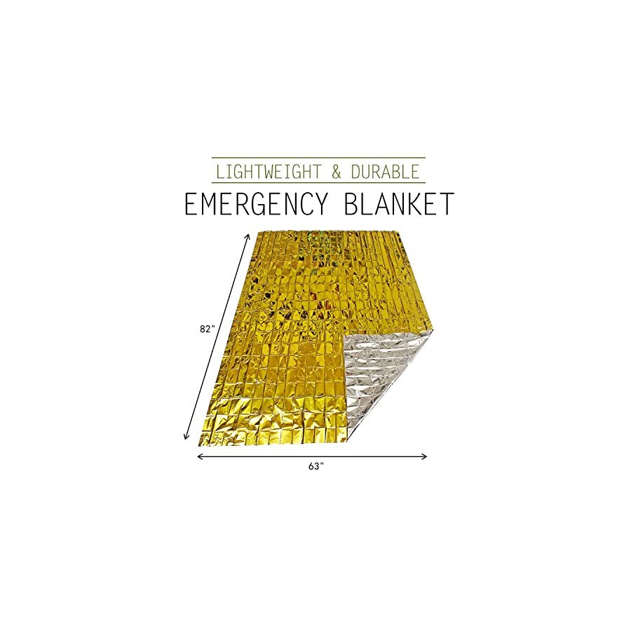 """Emergency Blanket (6 Pack), 63"""" x 82"""". Two Sided Extra Large Mylar Survival Blanket for Marathons, Camping, Outdoors, First Aid Kits, Survival Kit, Car Emergency Kit"""