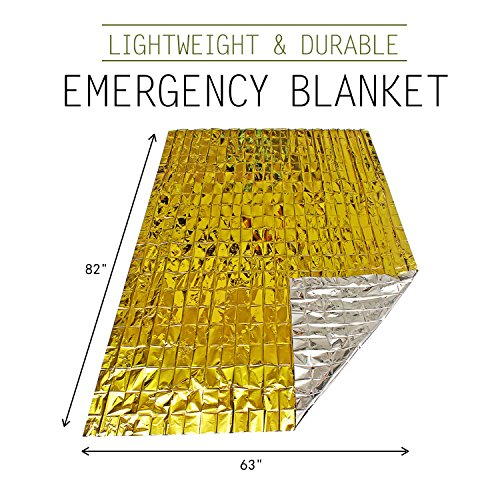 "TIANBO FIRST Emergency Blanket (6 Pack), 63"" x 82"". Two Sided Extra Large Mylar Survival Blanket for Marathons, Camping, Outdoors, First Aid Kits, Survival Kit, Car Emergency Kit"