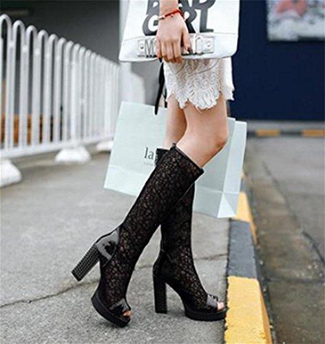 Mnii Bottes Boucle Des Talon À Cuisse Plates De Mode Dames Poitrine Chaussures Lacets Dentelle Black dessus Au Taille Genou Femmes Haute ErqEv7P