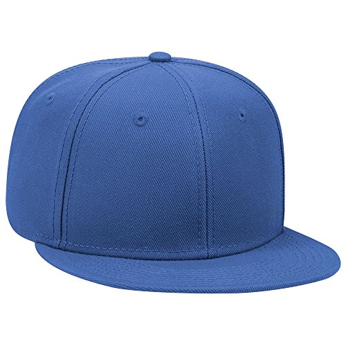 (OTTO SNAP Wool Blend Twill Round Flat Visor 6 Panel Pro Style Snapback Hat - Royal)