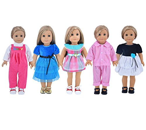 Ebuddy-5-sets-Doll-Party-Dress-Clothes-Outfits-Pajames-For-18-inch-American-Girl