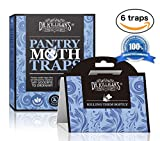 Pantry Moth Traps | Premium Quality Pheromone Attractant | Safe and Non-Toxic with No Insecticides (6, Blue Traps)