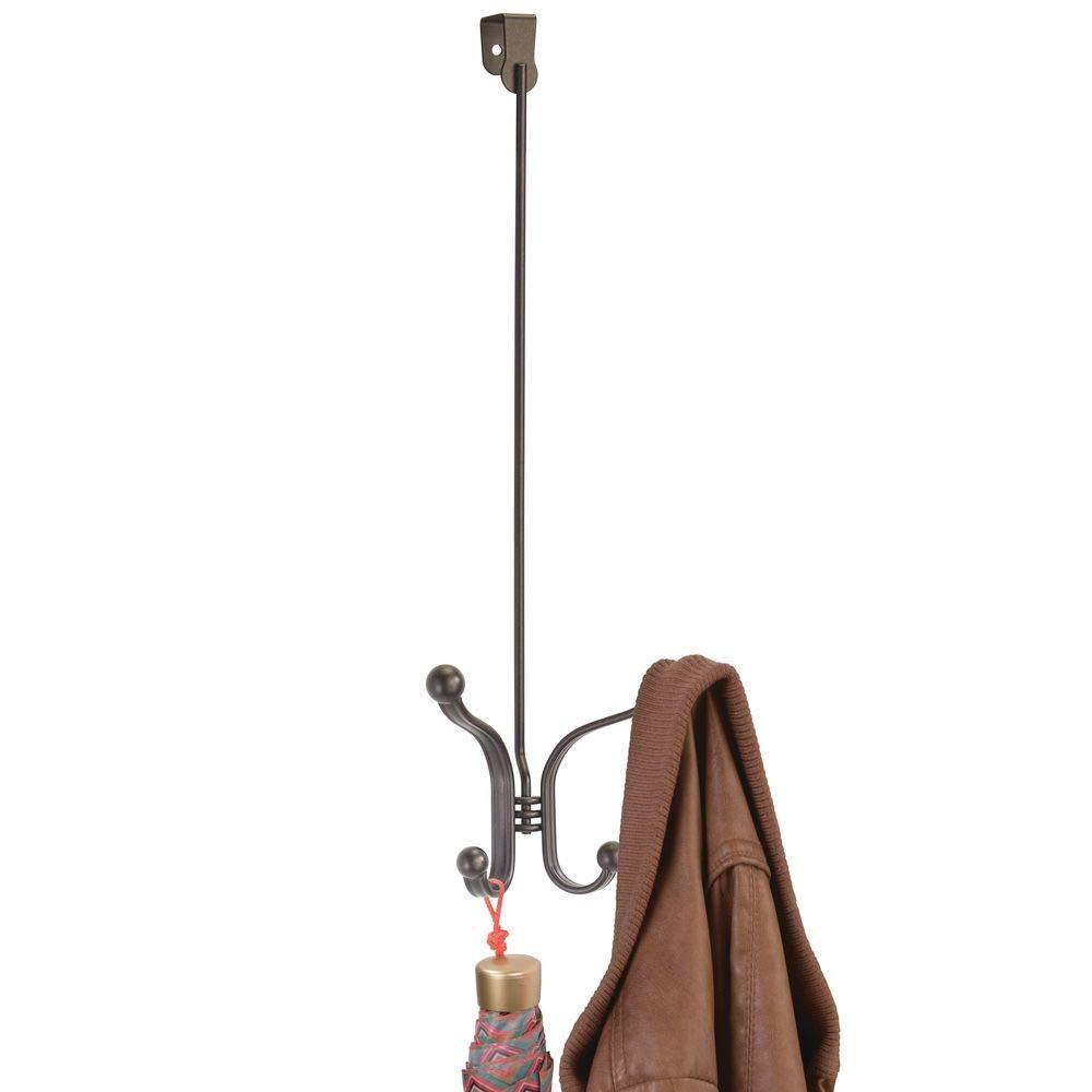 bronzefarben Taschen oder Handt/ücher perfekte T/ürgarderobe f/ür Jacken Zwei Kleiderhaken zum H/ängen f/ür die T/ür mDesign 2er-Set Garderobenhaken aus Metall