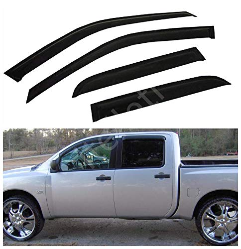 itelleti 4pcs Outside Mount Dark Smoke Sun/Rain Guard Front+Rear Tape-On Auto Window Visors For 04-15 Nissan Titan Crew Cab With 4 Full Size Doors Pickup Truck 4d Front Passenger Door