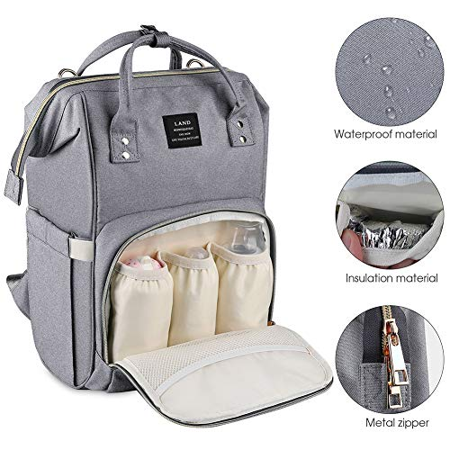 Stylish and Durable Linen Grey Nursing Bag Roomy Waterproof for Baby Care Large Capacity Baby Bag Multi-Function Travel Backpack Nappy Bags Diaper Backpack Fashion Mummy