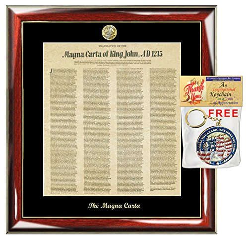 Magna Carta Replica Translated in English King John Print Frame Logo Embossed Passing Bar Legal Attorney Graduation Lawyer Gift Law Office Law Profession Retirement (Bar Frame Certificate)
