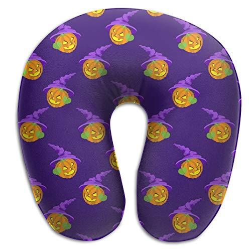 HUERY Halloween Pumpkin Double-Sided U-Shaped Travel Neck Pillow Cotton Soft Pillow Slow Rebound Material Pillow -