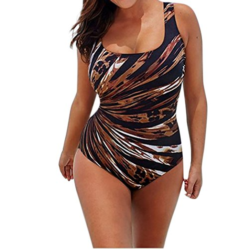 Plus Size!Hot Sale!Todaies Women Fashion Plus Size Padded Swimsuit Monokini Push Up Beach One-Piece Bikini (Brown, 2XL)